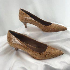 Donald J Pliner Cork/Leather Kitten Heel Shoes